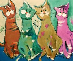 Bill, Arthur, Brad and Leonie by Claudette Castonguay cats in color
