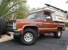 Sell used 1985 Chevrolet Blazer w/ Custom Four Wheel Camper in Millville, California, United States Rv Truck, Truck Camping, Chevy Trucks, Pickup Trucks, Camping Hacks, Cabover Camper, Pickup Camper, Camper Van, Chevy Blazer K5
