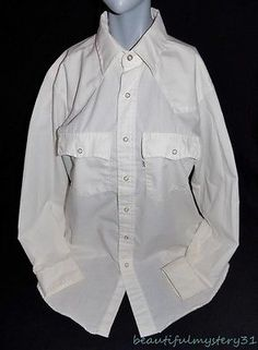 LEVIS VTG OFF WHITE PEARL SNAP BUTTON FRONT WHITE TAB ROCKABILLY WESTERN SHIRT L