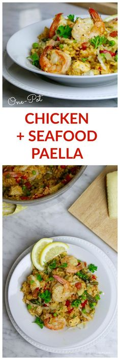 One-Pot Mixed Paella with chicken, shrimp, and a ton of veggies. This paella is so easy to make and clean up. Simple instructions and delicious, healthy ingredients.