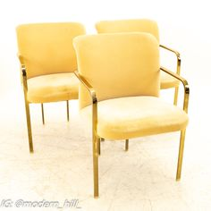 Milo Baughman Style Mid Century Brass Dining Chairs - Set of 3 Each chair measures: 22 wide x 23 deep x 33 high, with a seat height of 18 inches This set is available in what we call Restored Vintage Condition. Upon purchase it is fixed so it's free of watermarks, chips or deep scratches with color loss; as well as thoroughly cleaned - at no extra charge but this takes a bit longer to ship than if you don't choose this option.