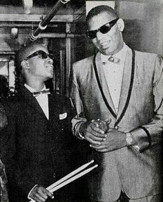 Ray Charles and a young Stevie Wonder in Detroit, 1962