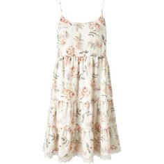 Floral Tier Sundress ($26) ❤ liked on Polyvore featuring dresses, floral, vestidos, white floral dress, floral dresses, tiered sundress, white dresses and floral print dress