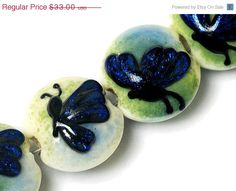 ON SALE 25 OFF Four Blue Sparkle Garden Butterfly by gracebeads, $24.75