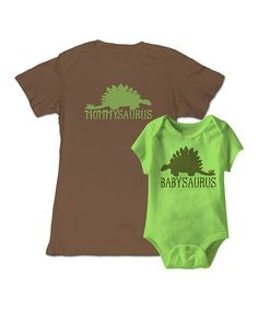 Look at this Brown 'Mommysaurus' Tee & Key Lime Bodysuit - Infant & Women on #zulily today!