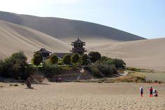 Dunhuang monastery and lake, Silk Road, Gansu, China