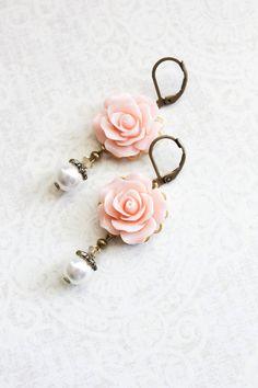 Light Pink Rose Earrings Bridesmaids Jewelry by apocketofposies