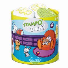 """""""Stampo Baby Haustiere""""  Mit Stampo Baby können die Kleinen ab 18 Monaten ihren Spaß daran entdecken, ihre ersten Motive mit den großen ergonomischen Stempeln abzubilden. Inhalt: ein Maxi-Stempelkissen mit abwaschbarer Tinte und 5 große Stempel für kleine Babyhände.      ab 18 Monaten     abwaschbare Stempelfarbe"""