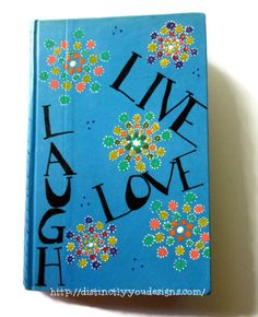 Live Laugh Love Journal, Mandalas, OOAK, Smashbook, Live Love Laugh Diary, Guest Book, Gifts For Her, Handcrafted, Handmade, Upcycled Art - pinned by pin4etsy.com