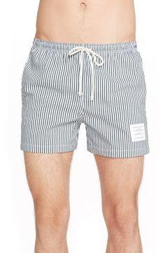 THOM BROWNE Stripe Seersucker Shorts. #thombrowne #cloth #