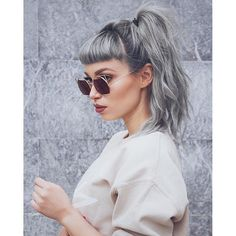 silver, bangs and ponytail, great combination!