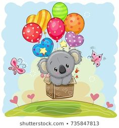 Illustration about Cute Cartoon Koala in the box is flying on balloons. Illustration of backgrounds, cute, happiness - 101931121 Buy Teddy Bear, Cute Teddy Bears, Teddy Bear Cartoon, Girl In The Box, Cartoon Chicken, Its A Girl Balloons, Bear Girl, Tatty Teddy, Cute Owl