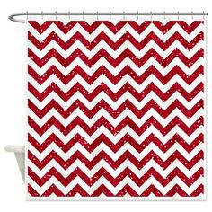 Red Glitter Chevron Shower Curtain on CafePress.com