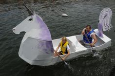 Cardboard Boats With Duct Tape - Yahoo Image Search Results Boat Projects, Crafty Projects, Cardboard Boat Race, Summer Camp Activities, Cardboard Design, Duck Tape Crafts, Boat Design, Craft Corner, Craft Shop