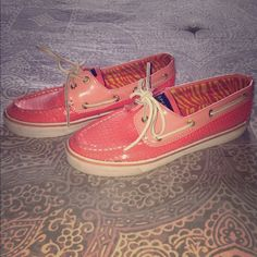 Coral sequin sperry boat shoes size 7 Coral sequin sperry boat shoes size 7 Sperry Top-Sider Shoes