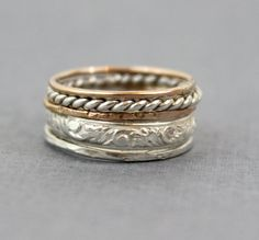 Set of 5 Thick Stacking Rings Sterling Silver by LyndyLouDesigns