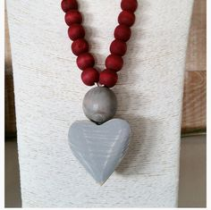 Items similar to Washed wooden heart and beads necklace from south africa on Etsy Beaded Jewelry, Beaded Necklace, Pendant Necklace, Jewellery, Bead Shop, Wooden Hearts, My Etsy Shop, Chunky Necklaces, Drop Earrings