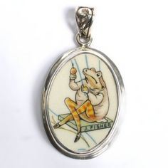 $78.0 Broken China Jewelry - Jeremy Fisher Beatrix Potter - Sterling Silver PendantFrom Vintage Belle Broken China Jewelry $78.0