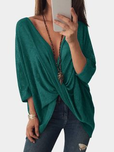 Dark Green Crossed Front Design V-neck Bat Sleeves Blouses Bat Sleeve, Sexy Blouse, Pinterest Fashion, Knit Shirt, Front Design, Blouse Styles, Half Sleeves, Blouses For Women, Cool Outfits