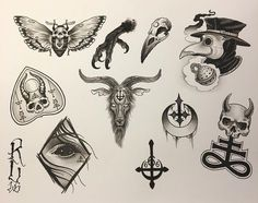flash sheet for our weekend flash special! Oct noon to first come first serve, no appointments, so get here early! Tattoo P, 13 Tattoos, Black Ink Tattoos, Dark Tattoo, Unique Tattoos, Body Art Tattoos, Small Tattoos, Satanic Tattoos, Satanic Art