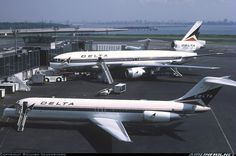 Delta Air Lines DC-9 and DC-10 at LaGuardia Airport, c 1973.
