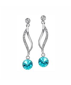Another great find on #zulily! Light Turquoise Swarovski® Crystal & Rhodium Drop Earrings #zulilyfinds
