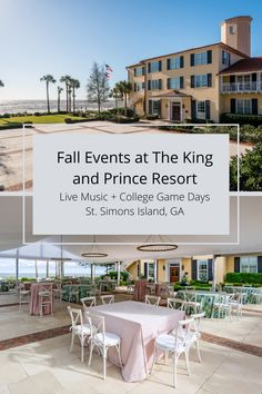 Live music with Jesse Rice on most October Fridays and College Game Day with The King and Prince Stadium Club on most Saturdays during college football season.