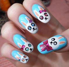 blue rabbit nail design ...
