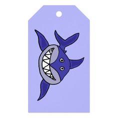 Grinning Shark Birthday Gift Tags #sharks #birthday #gifttags #funny And www.zazzle.com/tickleyourfunnybone*