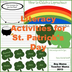 Teacher Mama: Literacy Activities for St. Patrick's Day and Giveaway!