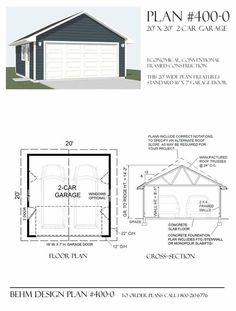 2 car basic garage has 16' wide twocar garage door and a modest footprint size - ideal for smaller lots. This plan uses standard roof trusses for economical construction