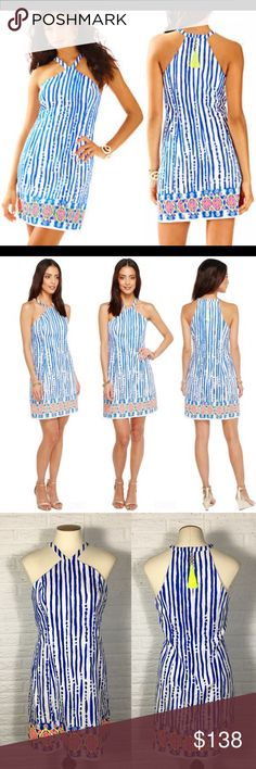 """Lilly Pulitzer Iveigh Shift Blue Crush Bay Stripe Brand: Lilly Pulitzer Size: 2 Style: Iveigh Shift Color: Blue Crush Bay Stripe Engineered Halter style shift dress with stripes and turtles  Bust: 17"""" Waist: 15.5"""" Length: 34""""  Condition: New with tags  Smoke free Pet friendly  No trades Open to offers! Lilly Pulitzer Dresses Mini"""