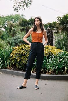 Made in Melbourne - Australia   The Alice Ciggie Pants are high waist, masculine tailored pants. They  feature a waistband, belt loops, cuffs, pockets and fly front.   - 100% Linen  - Colour : Black  - Available in sizes 6-12. *AU sizing ; please refer to our size conversion  chart if you