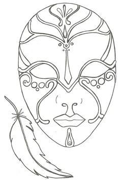 coloriage le masque et la plume Mascara Papel Mache, Mask Painting, Mask Template, Carnival Masks, Coloring Book Pages, Art Plastique, Mask Design, African Art, Mardi Gras