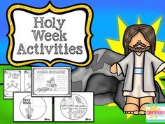 This packet is great for a Christian classroom, Sunday School, or Homeschool.  It has Holy Week activities including:* A half sheet booklet walking the children through the Easter Story.*Full paged color pages/posters (b/w) on Palm Sunday, Holy Thursday, Good Friday, and Easter Sunday.*A spinable wheel for Holy Week.