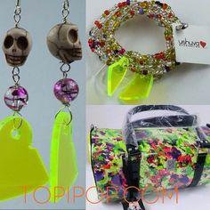 #neon #zarcillos y #pulsera @ushuva #cartera @gazaart la combinación perfecta.  topipop.com