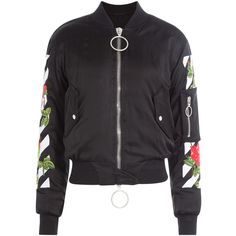 Off-White Embroidered Bomber Jacket (€1.620) ❤ liked on Polyvore featuring outerwear, jackets, black, slim fit flight jacket, oversized jacket, fitted jacket, slim fit bomber jacket and flight bomber jacket