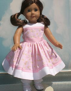 Cute doll dress!  May start making doll dresses...but will use the ideas for a little girl's dress.