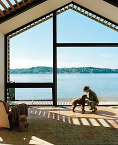 Interior from renovated garage on Vashon Island, about 20 miles southwest of Seattle by architect Seth Grizzle