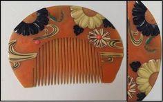G12 ★ Edo period tortoiseshell Four Gentlemen Makie era comb ★ antique hair ornaments