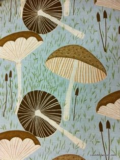 Mushroom Print Linen Cotton Fabric from Loom.