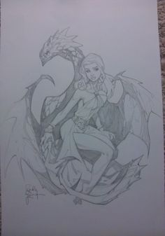 Daenerys Targaryen from Game of Thrones by Randy Green. Original art (pencils only) from HeroesCon 2013.