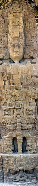 "Ancient Alien Theory~ many ancient cultures believe their ancestors were visited by ""star brothers"" who came from the sky.  This is one example of, what some believe, is a depiction of ancient advanced technology: Stele D, Mayan site of Quiriguá, Guatemala by Mikey Stephens, via Flickr"