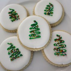 Minimalist Christmas Tree Sugar Cookies by GingerSnapMarket More