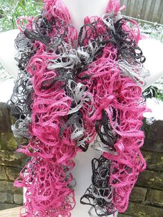 Hand knitted black grey and pink fashion ruffle by Knittingtopia