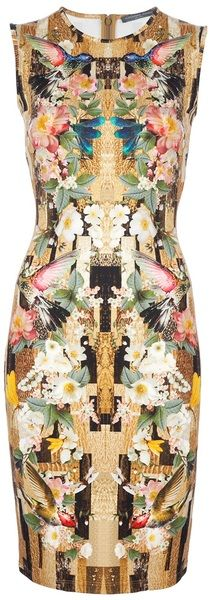ALEXANDER MCQUEEN  Multicolor Dragonfly Print Shift Dress. Not my taste but the material is just gorgeous