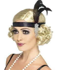 Deluxe BLACK Flapper Headpiece Feather Womens Headband Head Band 20s Costume NEW