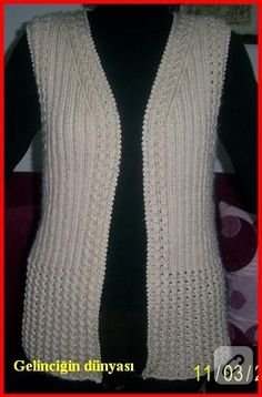 This Post Was Discovered By El - Diy Crafts - Marecipe Ladies Cardigan Knitting Patterns, Knit Vest Pattern, Shrug Pattern, Baby Knitting Patterns, Knitting Designs, Crochet Designs, Pakistani Fashion Party Wear, Shirt Makeover, Sleeveless Cardigan