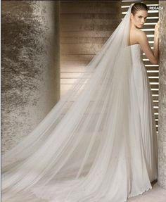 Cathedral 3 x1.5 M 1T Long Wide Bridal Veils Soft Tulle Long Wedding Veil Custom White Ivory Red Champagne Bridal Veils Mantilla US $26.90