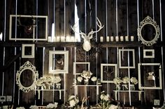 Close up of the elegant details in the barn-wedding. I love the random very personal things all painted white to match and hung as a backdrop of their love. SO many objects could be used in this kind of wedding concept.